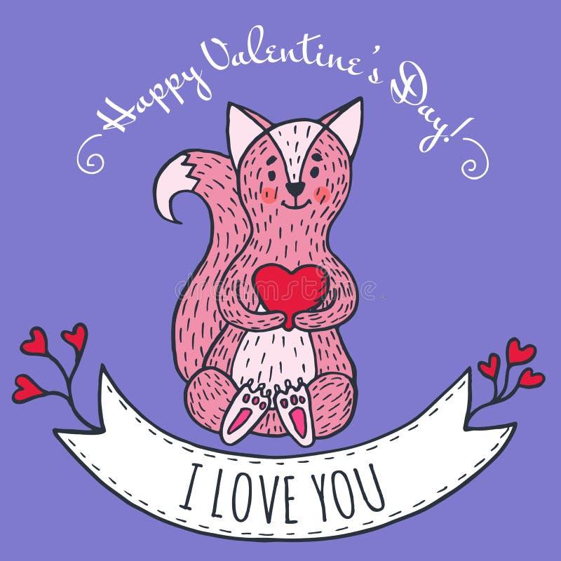 Groetkaart voor Valentijnskaartendag met vos vector illustratie