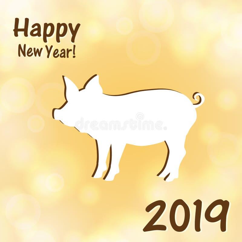 Groetkaarten met een Nieuwjaar van het varken vector illustratie