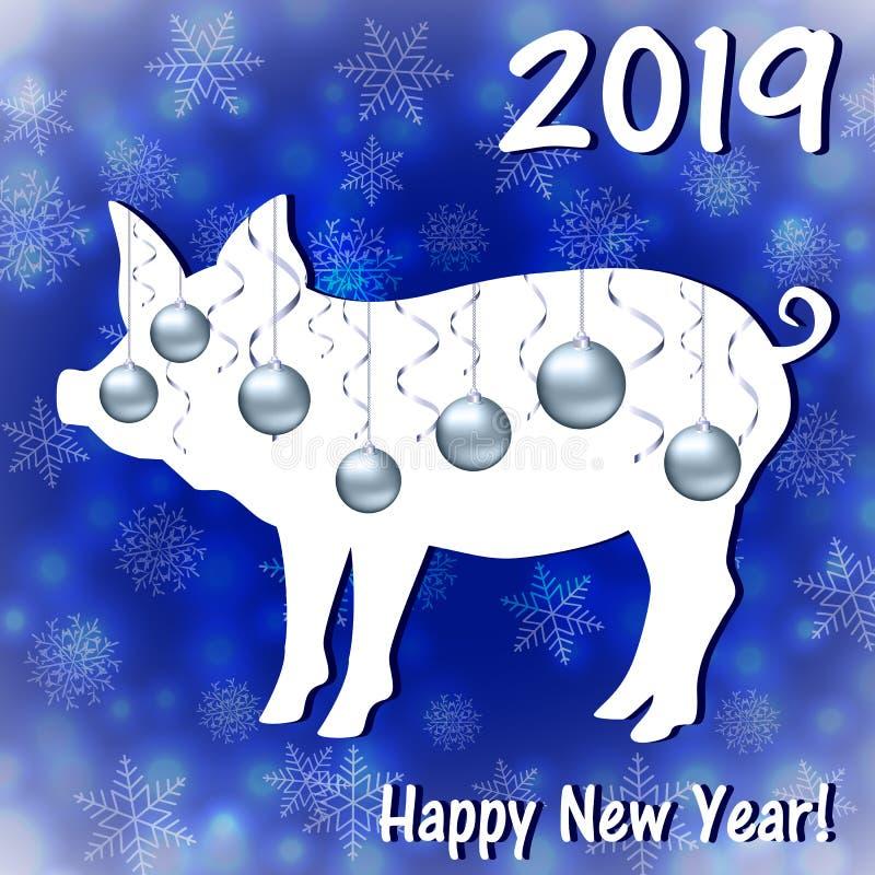 Groetkaarten met een Nieuwjaar van het varken stock illustratie