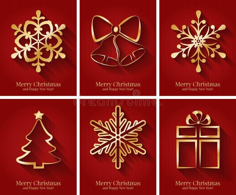 Groetkaarten met gouden Kerstmissymbolen.