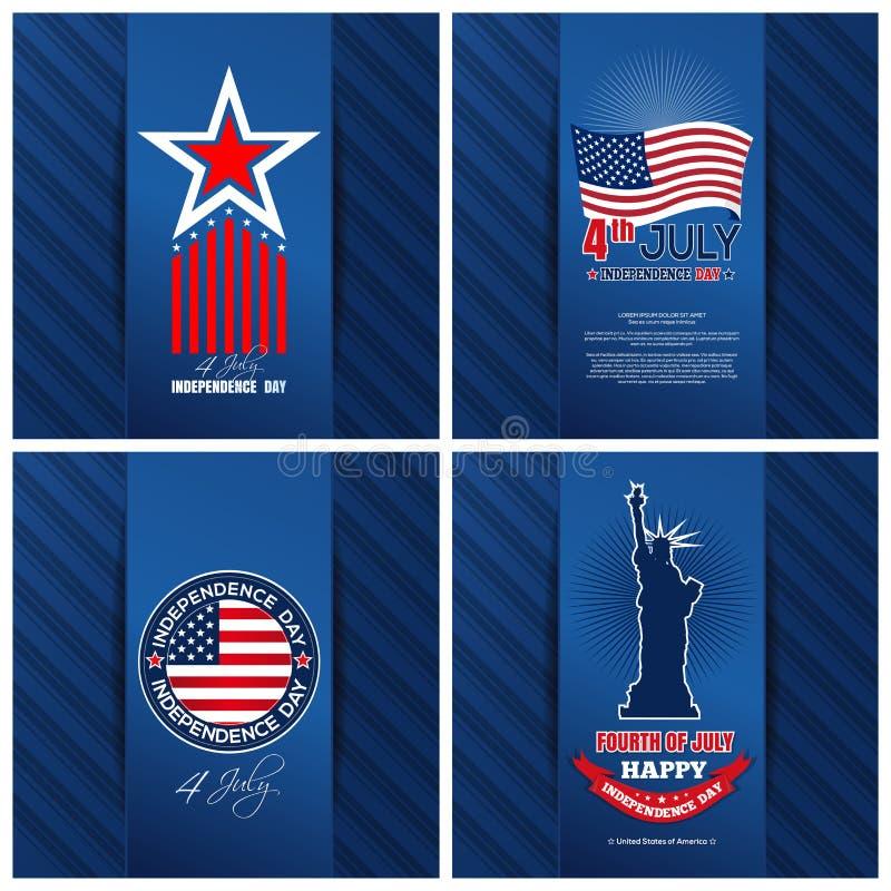 Groetkaarten voor de Onafhankelijkheidsdag die van de V.S. worden geplaatst royalty-vrije illustratie