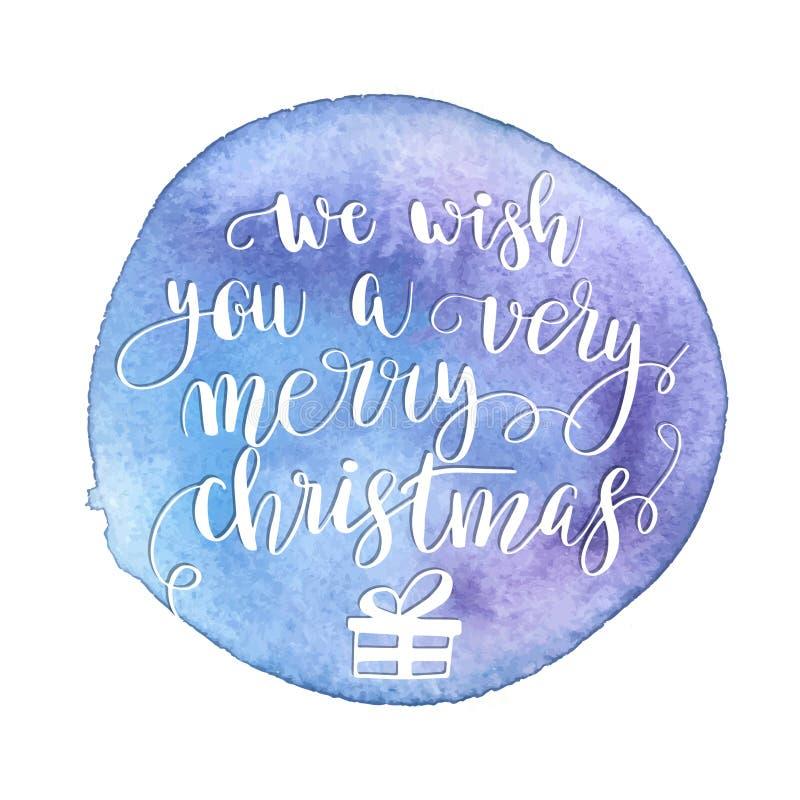 Groetkerstkaart met hand-drawn typografie het van letters voorzien uitdrukking Holly Jolly op waterverf geschilderde achtergrond  royalty-vrije illustratie