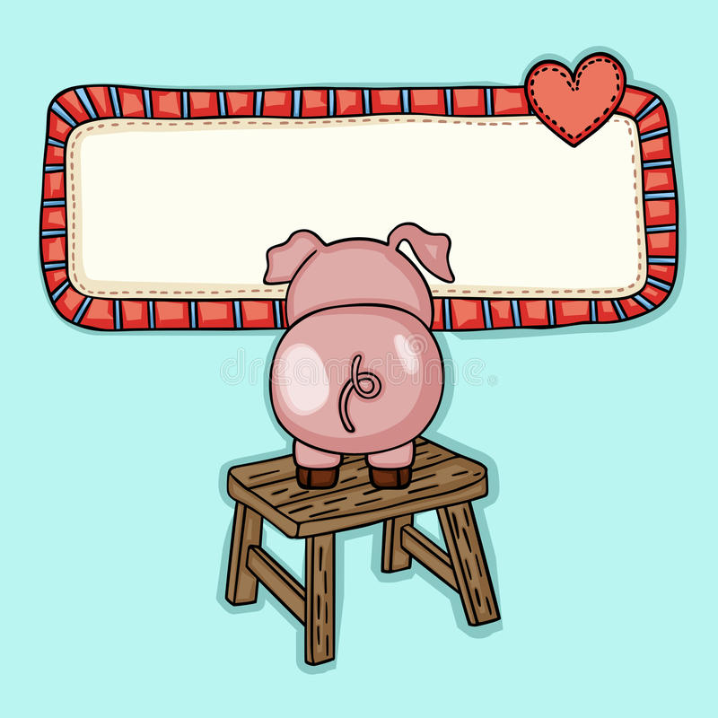 Groetprentbriefkaar met weinig piggy omhoog houten kruk royalty-vrije illustratie