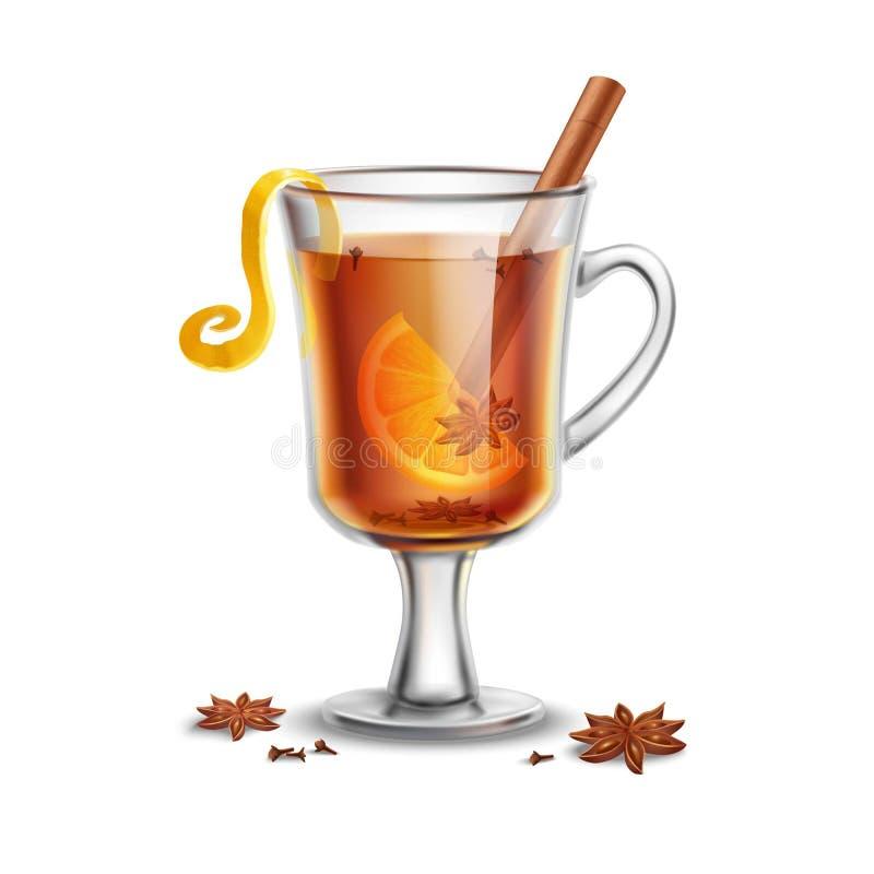 grog Gorący rumowy napój z pikantność ilustracja wektor