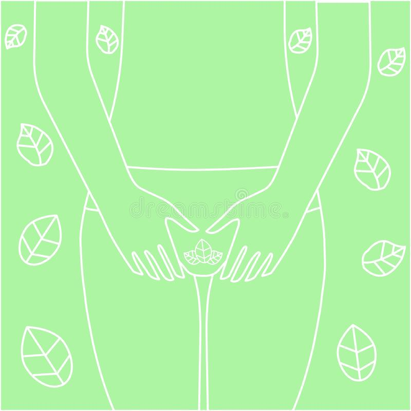 Groin of female. Feminine Hygiene. woman with hands over her crotch. Close up view of young woman and Hand is a symbol stock illustration