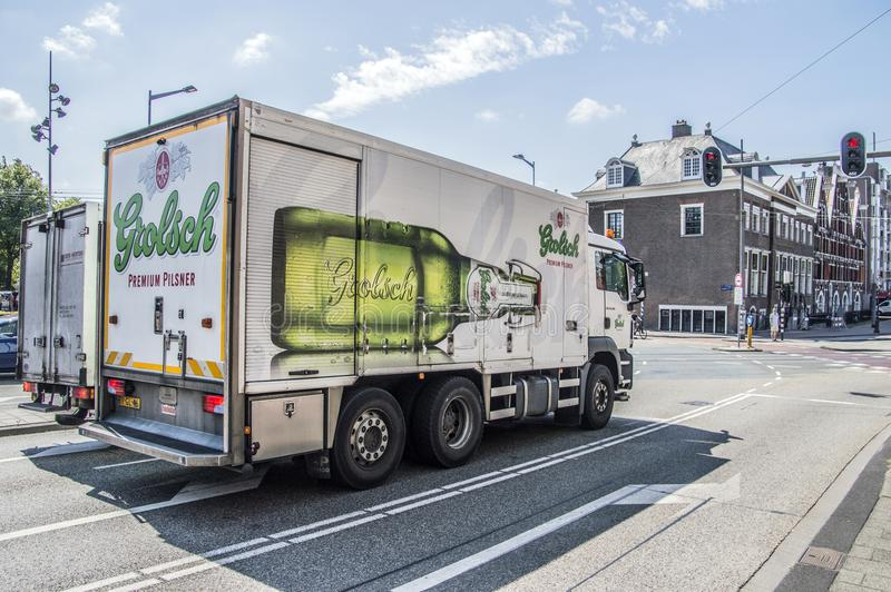 Grolsch Beer Truck At Amsterdam The Netherlands 2018 royalty free stock photo