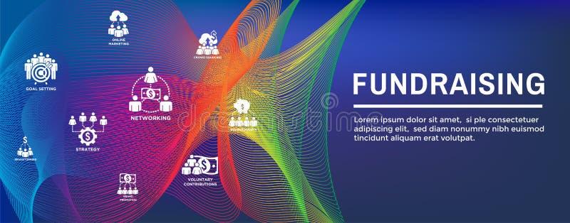 Gromadzi fundusze ikona Ustawiaj?ca z sie? chodnikowa sztandarem royalty ilustracja