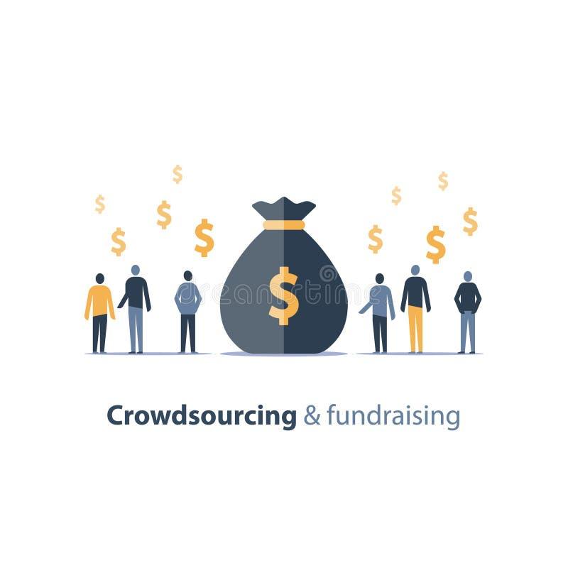 Gromadzi fundusze kampania, crowdfunding pojęcie, biznesowy spotkanie, grupa ludzi, wektorowa ilustracja ilustracji
