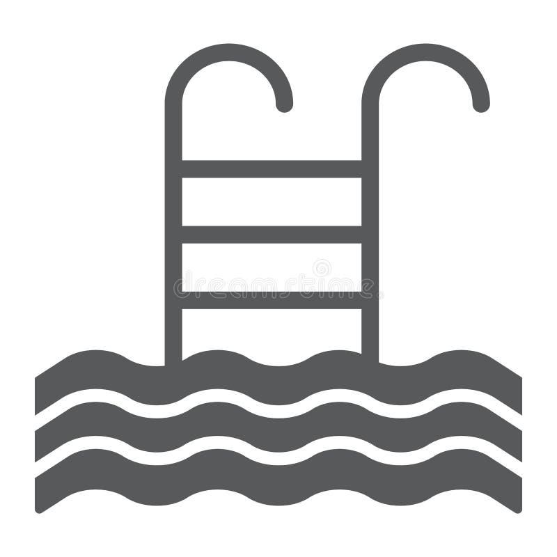 Gromadzi glif ikonę, pływa, i woda, drabina znak, wektorowe grafika, bryła wzór na białym tle ilustracji