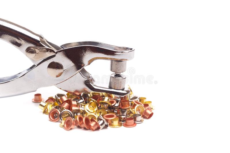 Grommets tool  on white background stock photo