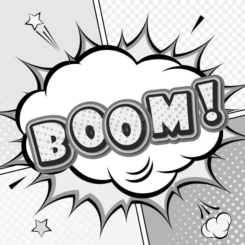 grondement Bande dessinée de vecteur, bulle de la parole, explosion Art de bruit illustration stock