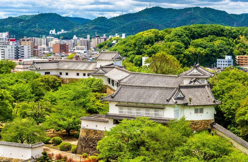 Gronden van het Kasteel van Himeji in Japan royalty-vrije stock foto's