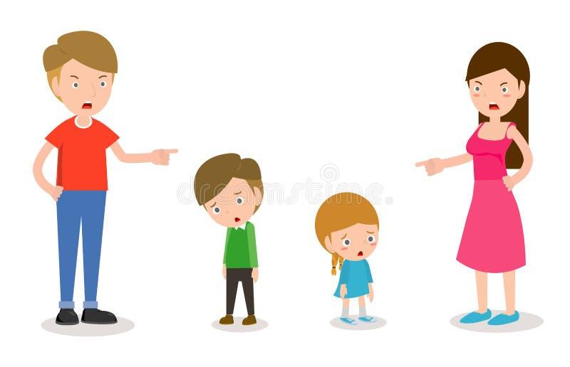 Grondez les enfants, le père et la mère grondant le fils et la fille, parents fâchés et grondez les enfants d'isolement sur le ve illustration de vecteur