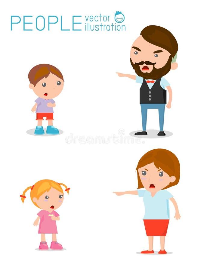Grondez les enfants, le père et la mère grondant le garçon malheureux illustration libre de droits