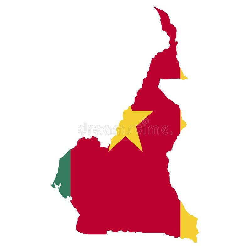 Grondgebied en vlag van Kameroen Witte achtergrond Vector illustratie stock illustratie