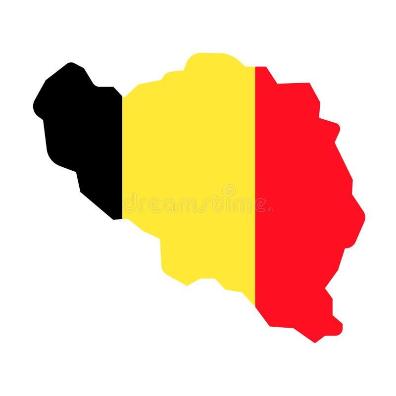 Grondgebied van België Vlag van België Witte achtergrond Vector illustratie stock illustratie