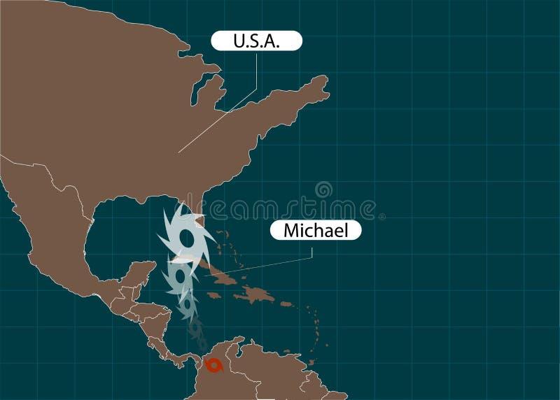 Grondgebied van de Verenigde Staten van Amerika florida Orkaan - onweer Michael Orkaanschade Vector illustratie stock illustratie