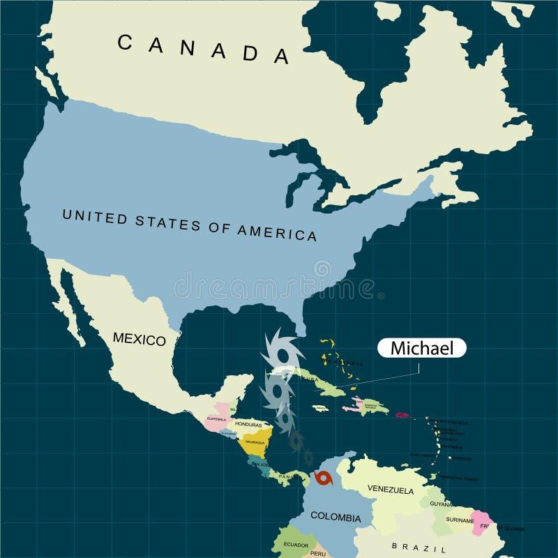 Grondgebied van de Verenigde Staten van Amerika florida Orkaan - onweer Michael Orkaanschade Vector illustratie vector illustratie
