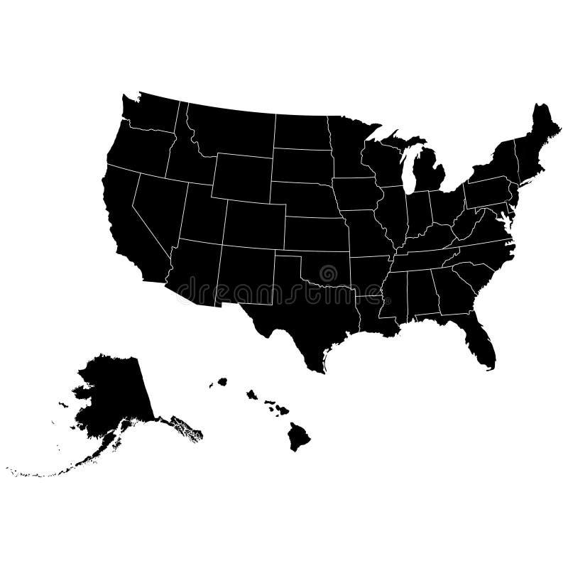 Grondgebied van de Verenigde Staten van Amerika met contour vector illustratie