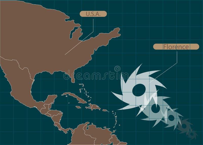 Grondgebied van de Verenigde Staten van Amerika Zuid-Carolina, Noord-Carolina, Virginia Orkaan - onweer Florence Orkaanschade Vec vector illustratie