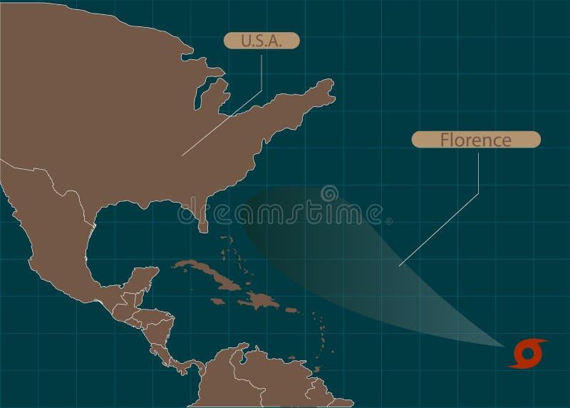 Grondgebied van de Verenigde Staten van Amerika Zuid-Carolina, Noord-Carolina, Virginia Orkaan - onweer Florence Orkaanschade Vec royalty-vrije illustratie