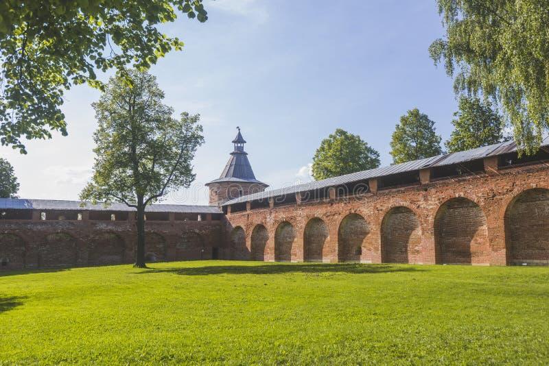 Grondgebied Zaraysk het Kremlin De vestingsmuur en de Toren Mosc stock afbeeldingen