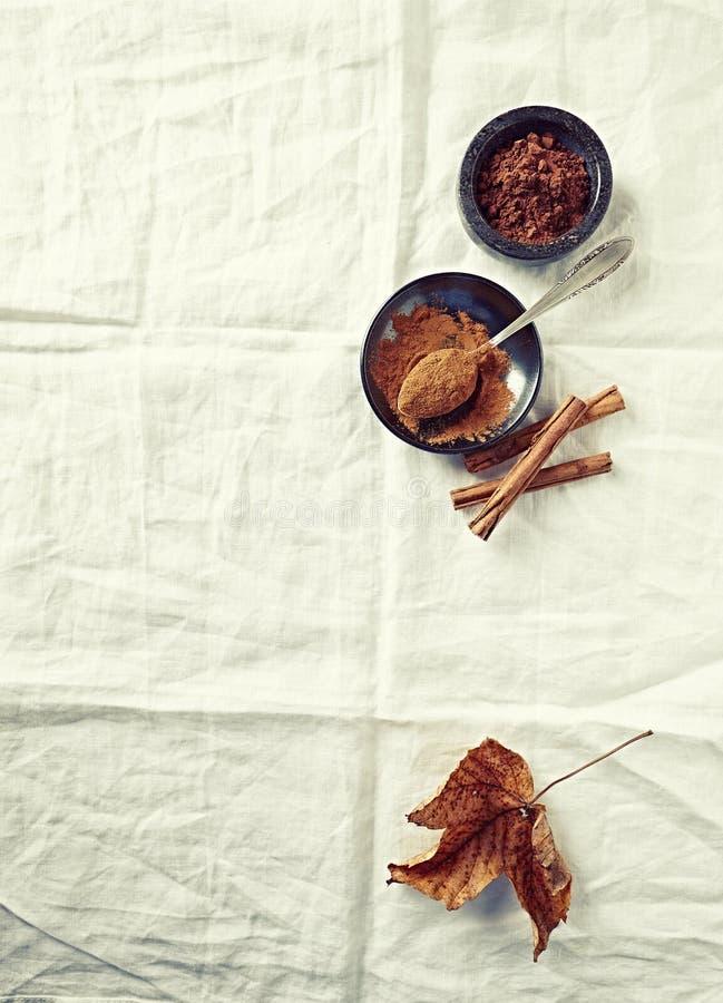 Grondkaneel, cacaopoeder en pijpjes kaneel op witte linnendoek royalty-vrije stock afbeelding