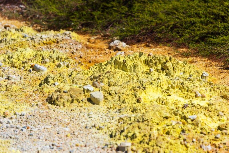 Grondtextuur op wai-o-Tapu geothermisch gebied, Rotorua, Nieuw Zeeland royalty-vrije stock foto