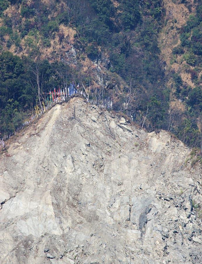 Grondverschuiving in de Himalayan-berg royalty-vrije stock afbeeldingen