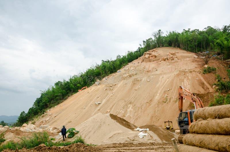 Grondverschuivingen tijdens in het regenachtige seizoen, Thailand stock fotografie