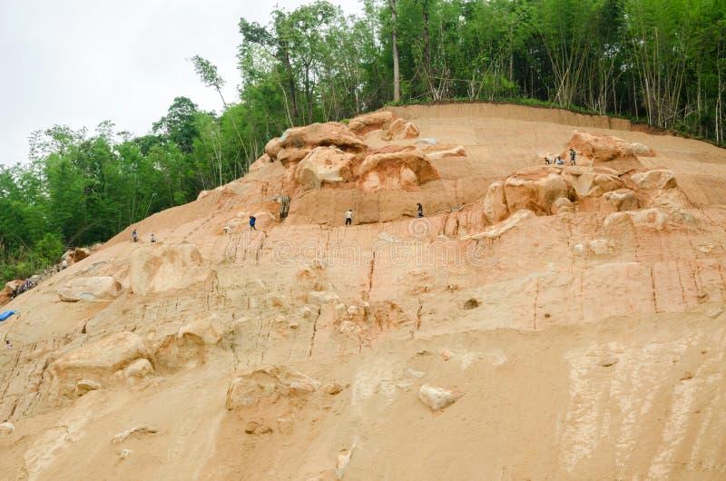 Grondverschuivingen tijdens in het regenachtige seizoen, Thailand stock foto's