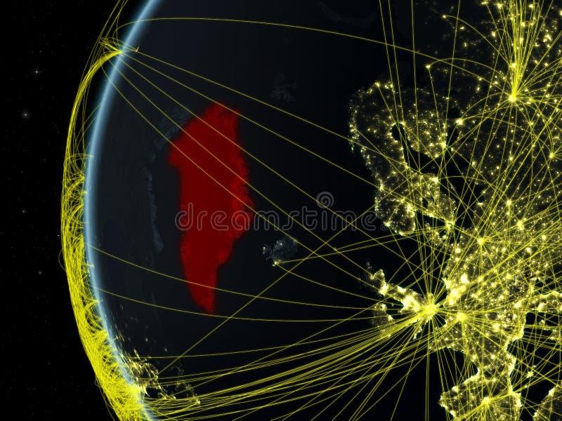 Gronelândia do espaço com rede fotografia de stock royalty free