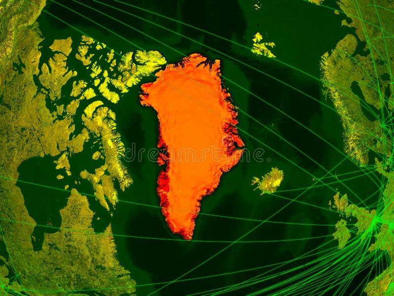 Gronelândia no mapa digital ilustração do vetor