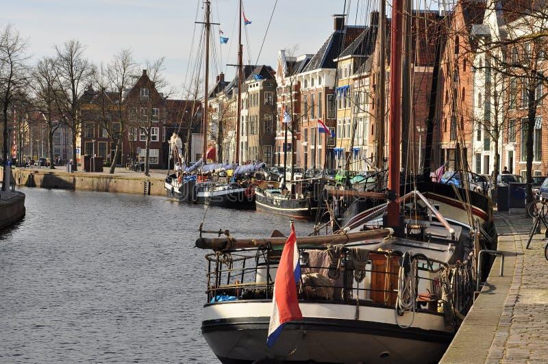 Groninga, el canal principal y puerto Los Países Bajos foto de archivo libre de regalías