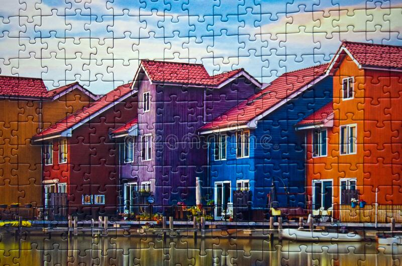 Groningen in Holland colorful houses assembled puzzle image. A commercial toy, Polish manufacturer Trefl puzzle consisting of 1000 elements, assembled puzzle royalty free stock image