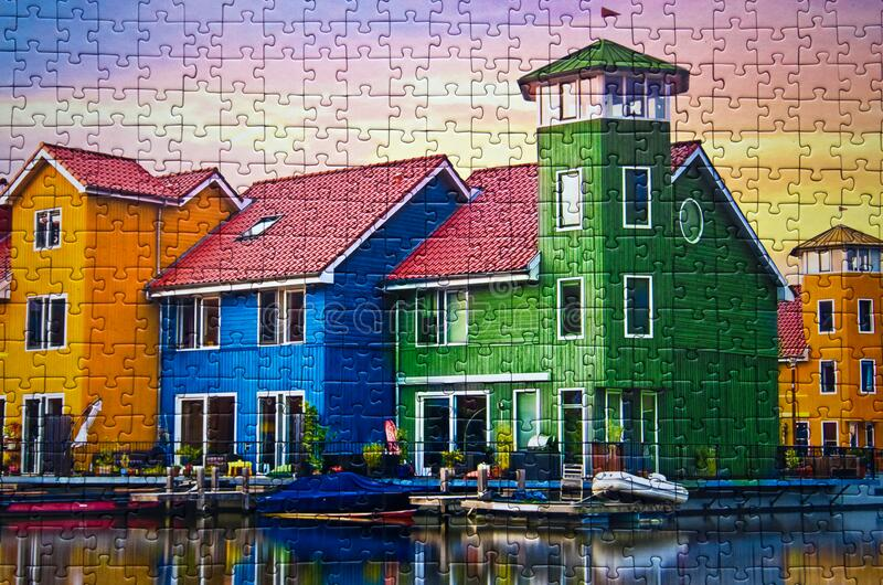 Groningen in Holland colorful houses assembled puzzle image. A commercial toy, Polish manufacturer Trefl puzzle consisting of 1000 elements, assembled puzzle royalty free stock photography