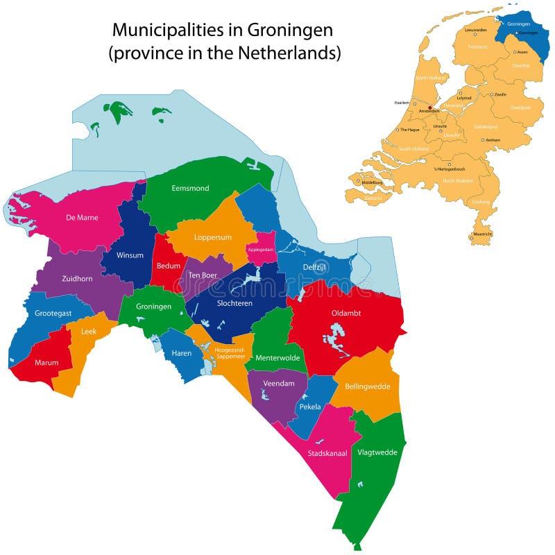 Groningen - provincie van Nederland royalty-vrije illustratie