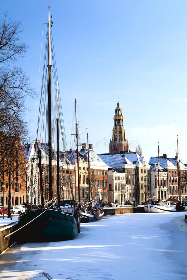 Groningen in snow royalty free stock images