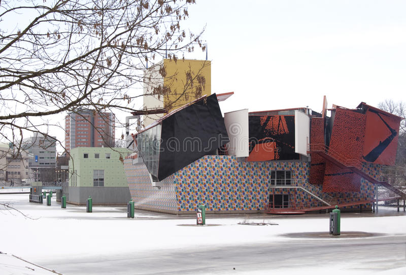 Groninger museum in the snow stock photo