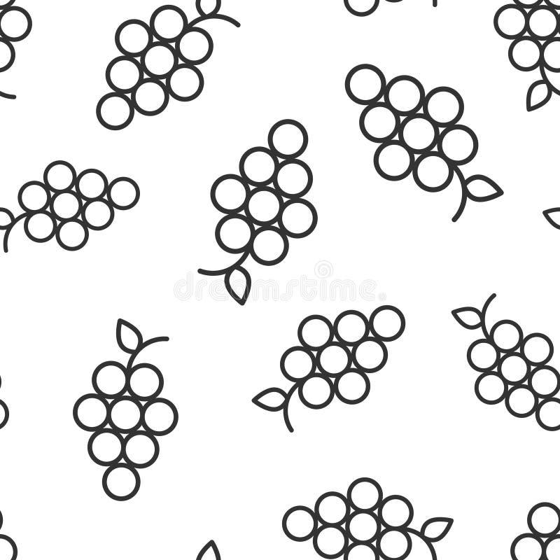 Gronowej owoc szyldowej ikony bezszwowy deseniowy tło Winoro?li wektorowa ilustracja na bia?ym odosobnionym tle winogrona zbieraj ilustracji