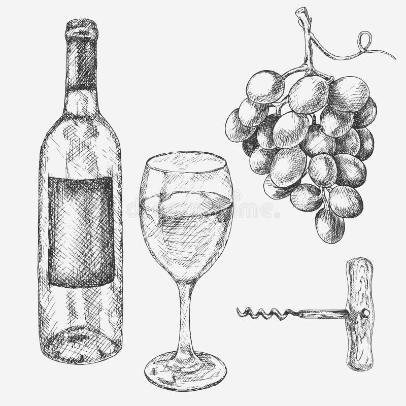 Gronowy wino set Wektorowa ilustracja z wina szkłem, winogrona, butelka Ręka rysujący alkoholicznego napoju nakreślenie royalty ilustracja