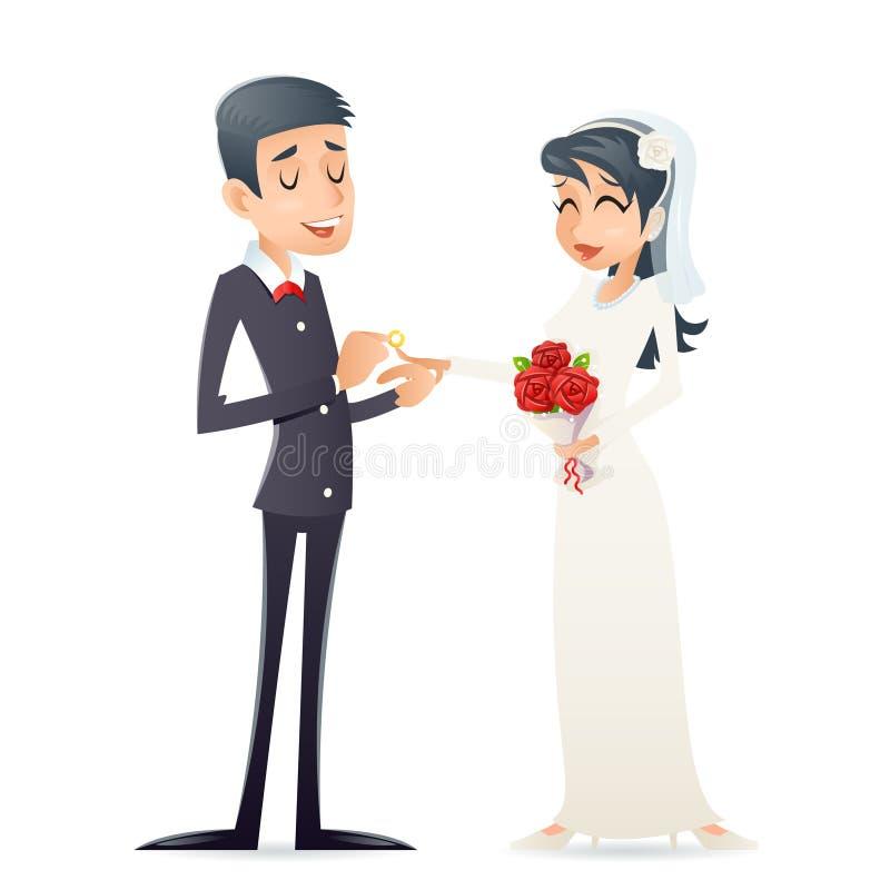 Groom держит милую невесту на значка символа замужества свадьбы оружий винтажном счастливом усмехаясь дизайне шаржа мужского женс иллюстрация штока