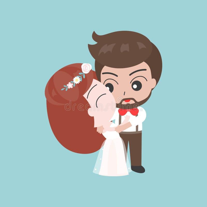 Groom обнимая невесту, милый характер для пользы как invitatio свадьбы бесплатная иллюстрация