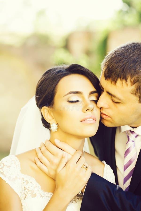 Groom целует невесту стоковое фото