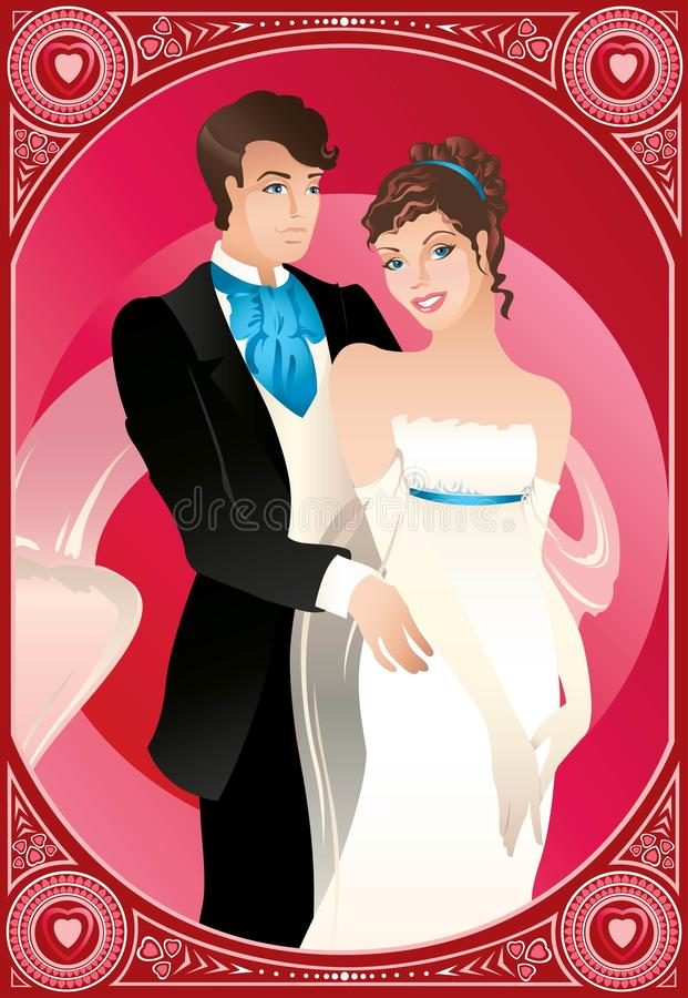 Groom and bride. Beautiful couple is happy in wedding day royalty free illustration