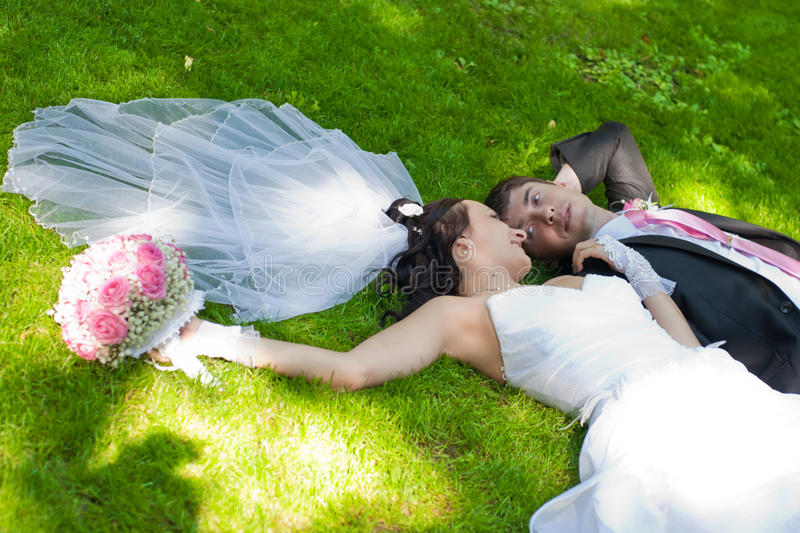 Download Groom and bride stock image. Image of bouquet, park, newly - 26981639