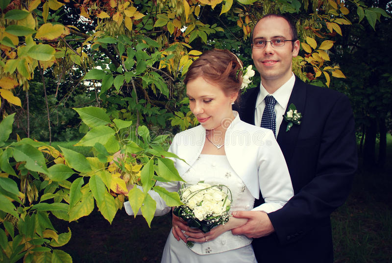 Download Groom and bride stock image. Image of leaves, fall, cheerful - 28848581