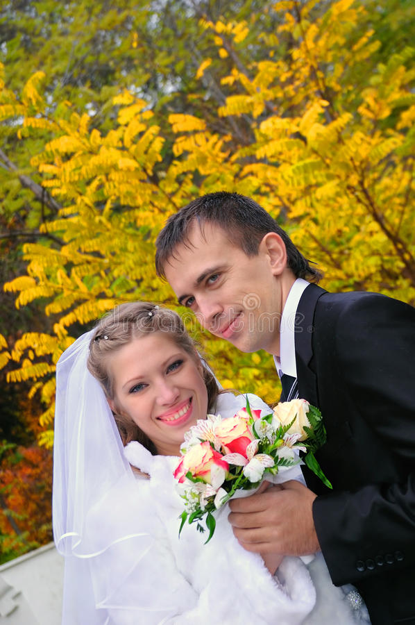 The groom and the bride on an autumn background stock photos