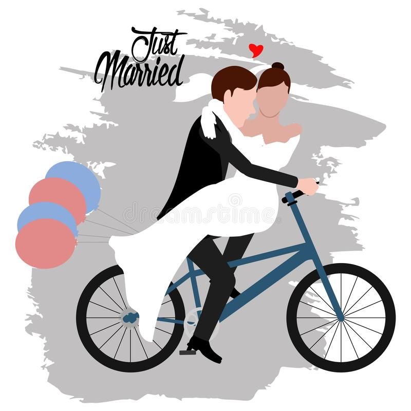 Groom and bride on a bicycle. Just married couple royalty free illustration