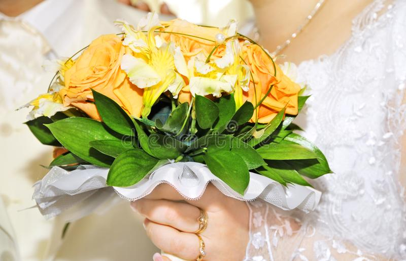 Groom and bride with bouquet royalty free stock images